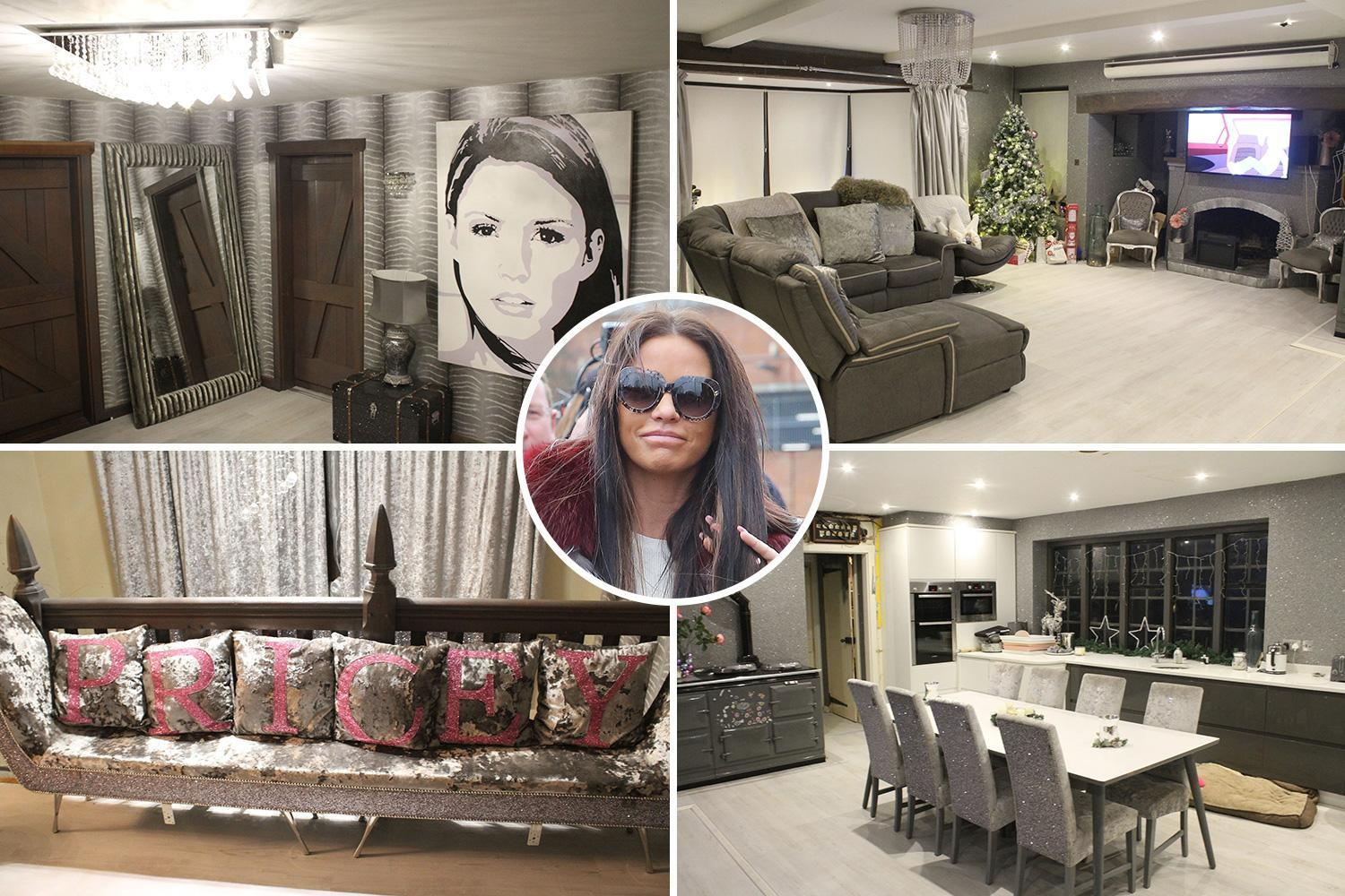 Katie Price spruces up her mucky mansion as she shows off lavish decor with crystal lights and a huge portrait