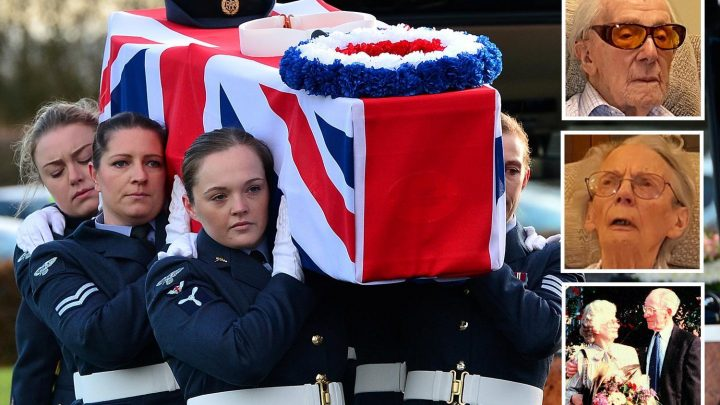 RAF troops carry coffins for Dambusters hero and wife buried together in emotional funeral after dying just 10 days apart