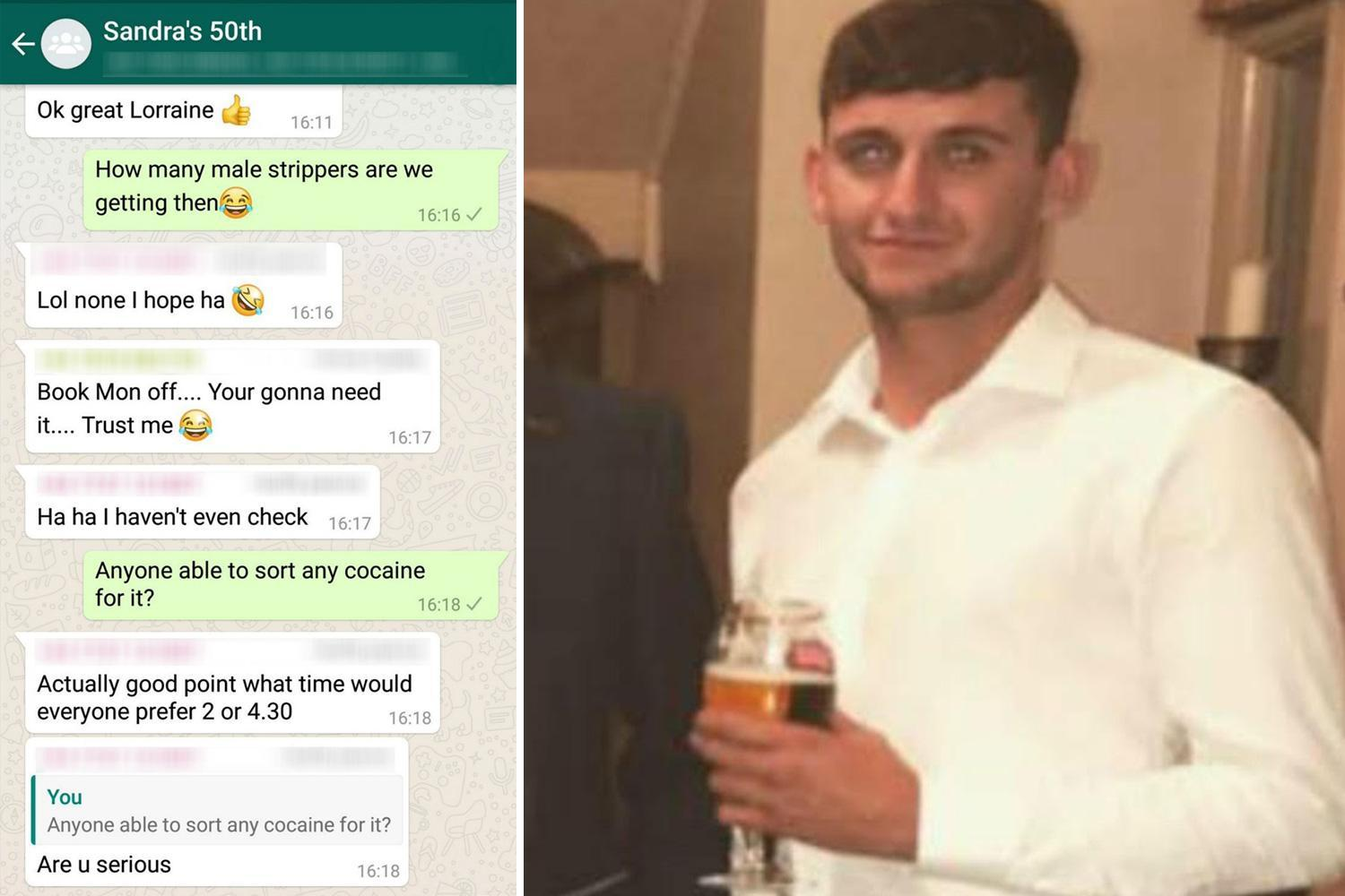 Lad accidentally added to 'Sandra's 50th' group chat hilariously pranks members asking for STRIPPERS and drugs