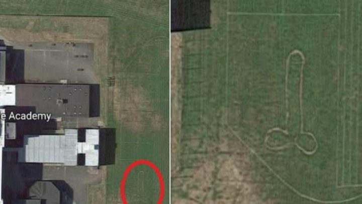 Huge 60ft penis spotted on Scottish school's playing fields from space satellite image on Google Maps