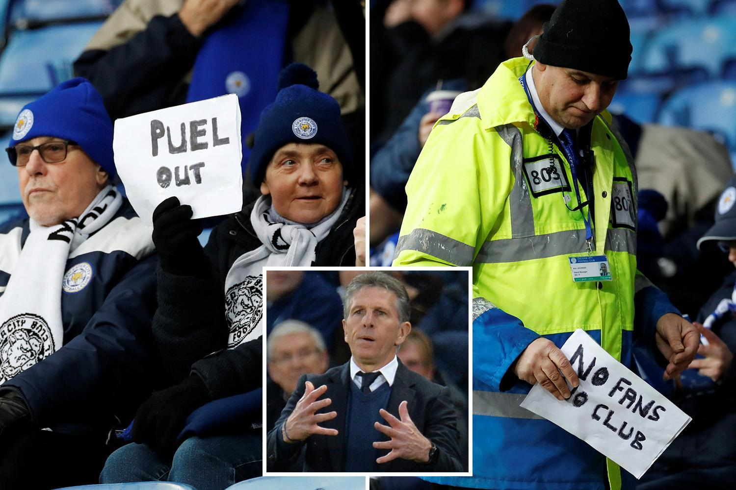 Leicester protesters have 'Puel Out' signs taken by stewards before defeat to Southampton