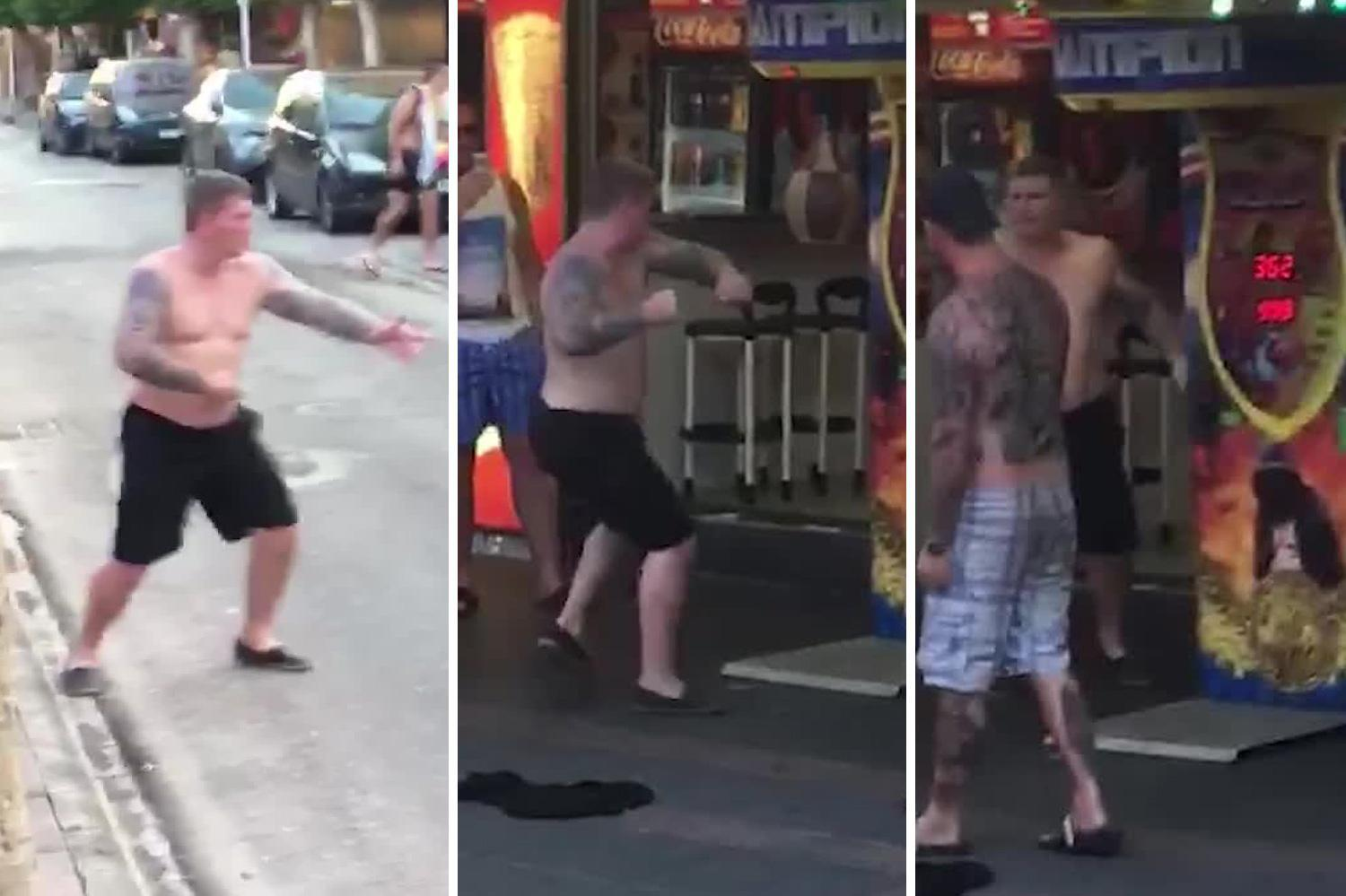 Watch topless Ricky Hatton run across Magaluf strip to show boxing machine who's boss