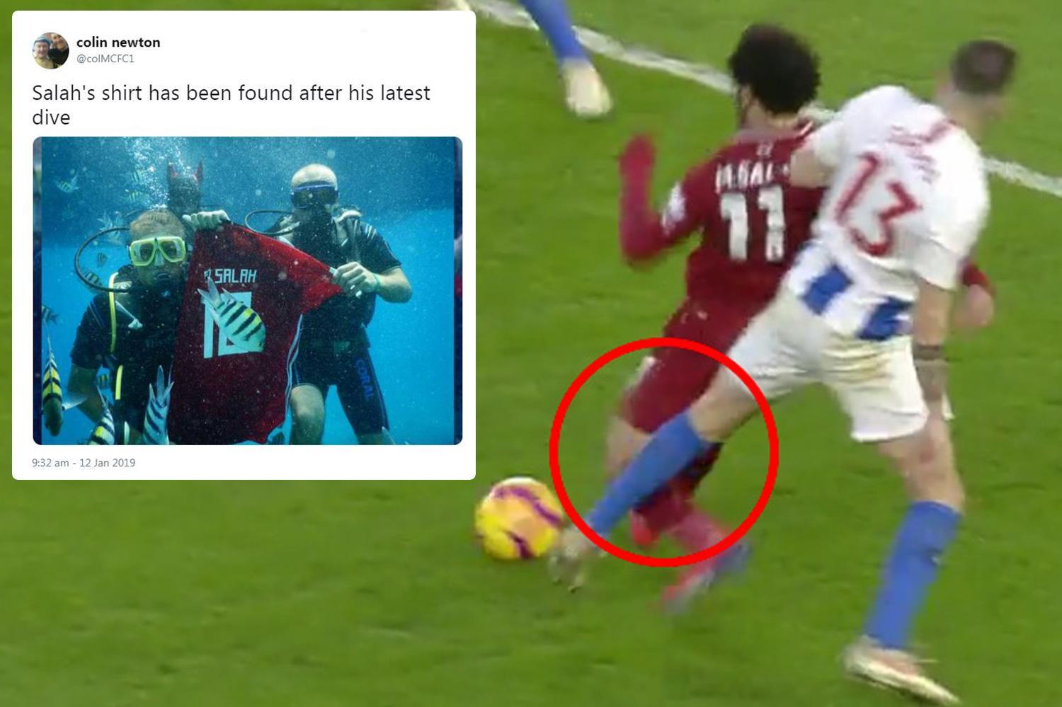 Twitter trolls Mo Salah over 'dive' against Brighton but replays show he was kicked