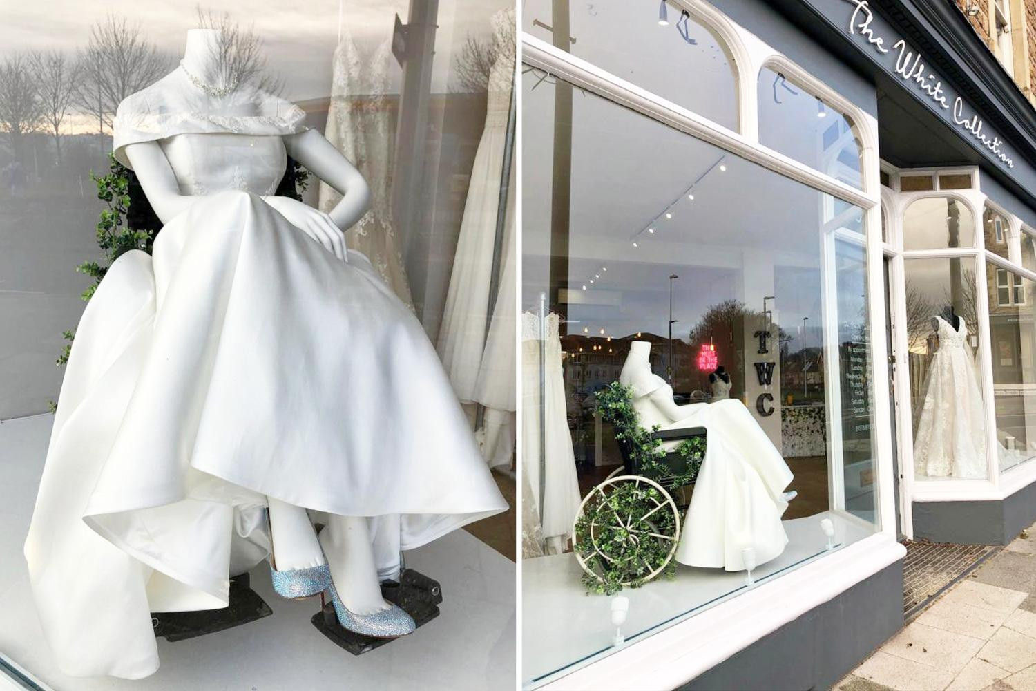 Bridal shop is praised and brings passers-by to tears as it breaks the mould with a mannequin in a wheelchair in its window display