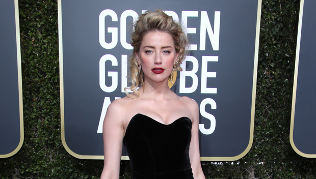 Amber Heard Is Gorgeous In Strapless Black & White Gown At Golden Globes