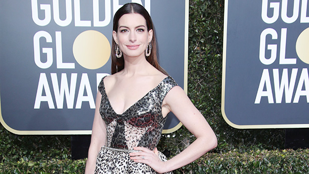 Anne Hathaway Slays In Sexy Leopard Print Dress At Golden Globes