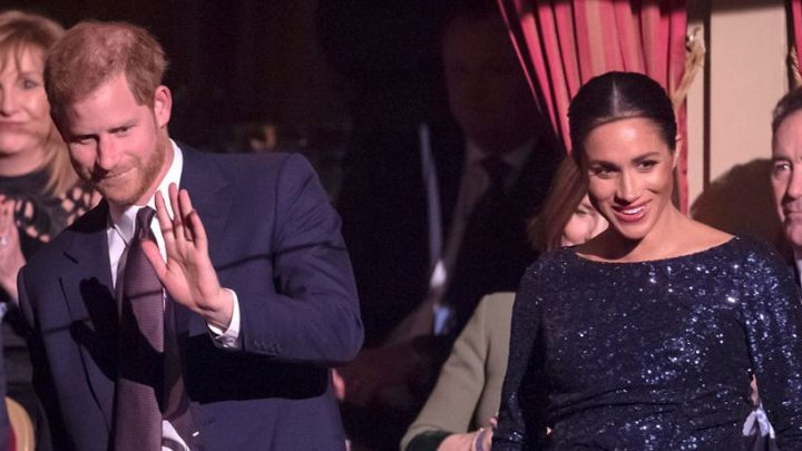 Meghan Markle's Blossoming Baby Bump Hugged By Sparkling Navy Gown