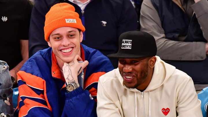 Pete Davidson Smiles as He Checks Out Cheerleader at New York Knicks Game
