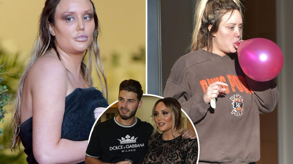 Charlotte Crosby is spotted at home getting ready for glamorous launch of her new reality show