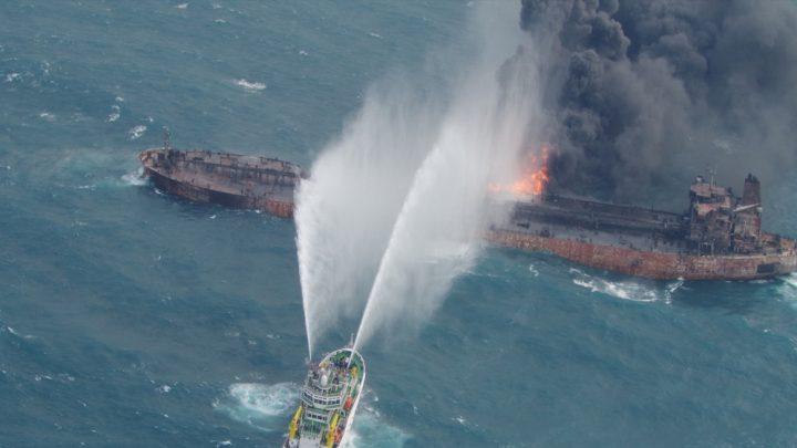 Burning Iranian oil tanker sinks, 29 crew feared dead