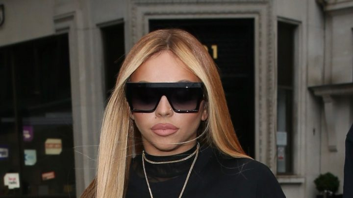 Jesy Nelson braves temperatures as she steps out in t-shirt and boots