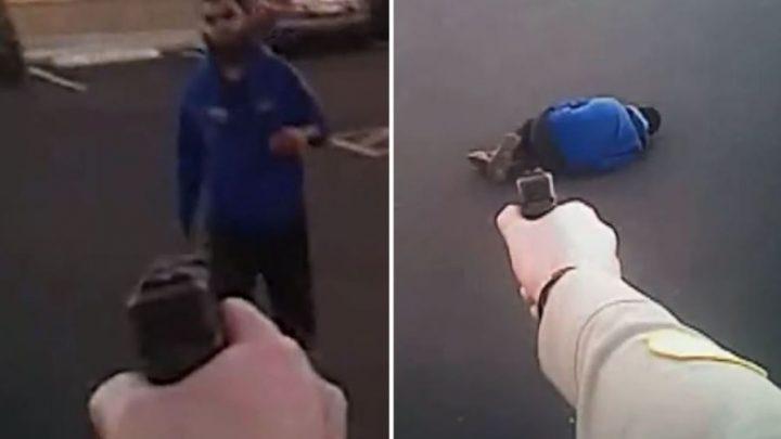 Knife-wielding 'terror lone wolf' who pledged allegiance to ISIS is shot as he charged at Arizona cop in bodycam vid