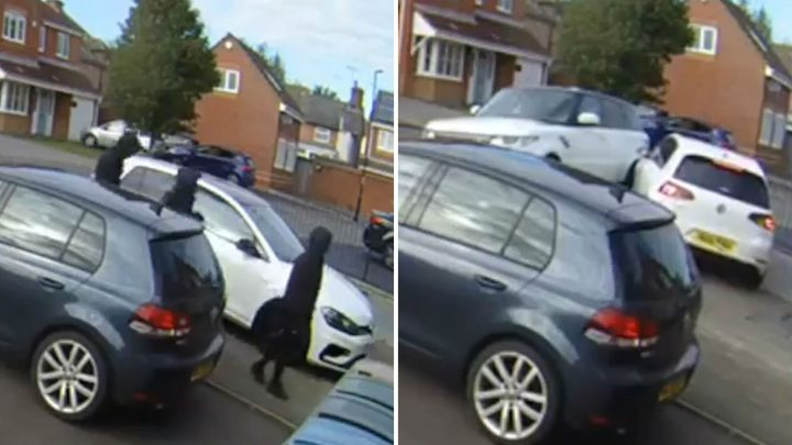 Brave neighbour tries to block car thieves in his Range Rover – then CHASES after them