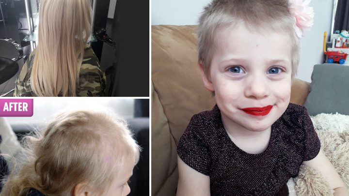 Mum devastated after four-year-old daughter returns from sleepover at her gran's with a MULLET – forcing her to shave girl's head completely