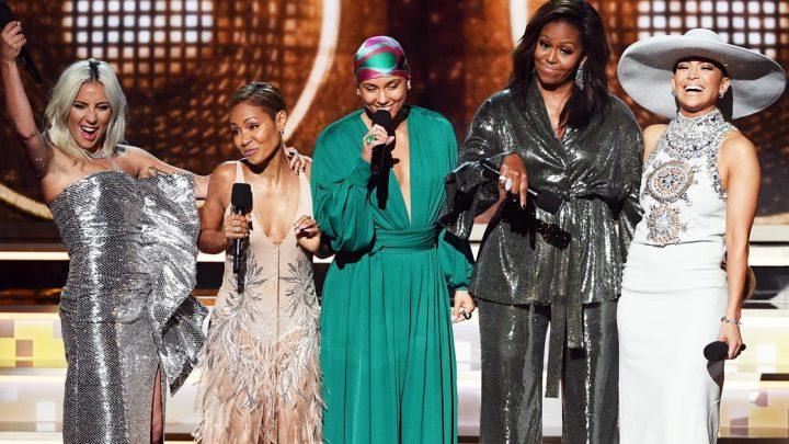 Michelle Obama's Roaring Grammys Ovation with Host Alicia Keys, Jada, Gaga and J.Lo