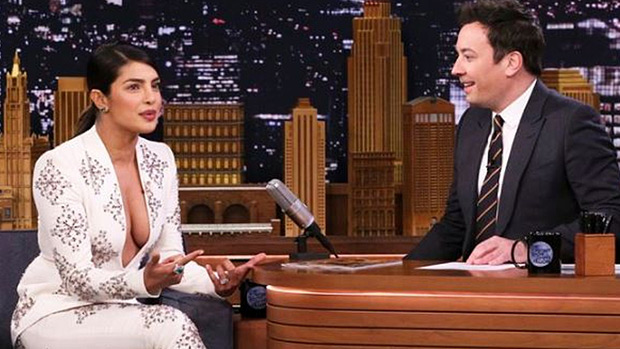 Priyanka Chopra Goes Braless In Sexy Plunging Top For Talk Show Appearance — Pic