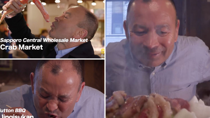 Eddie Jones sucks on giant crab and eats noodles in hilarious Rugby World Cup ad