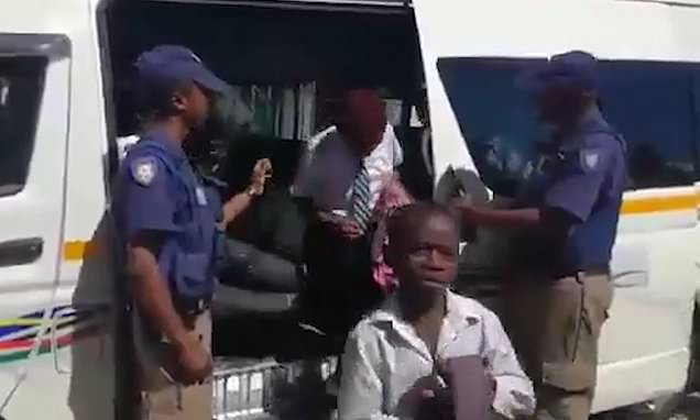 Footage shows FORTY SIX schoolchildren in a small taxi in South Africa