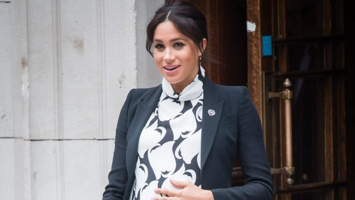 Meghan Makes a Statement in Her $345 Monochrome Print Dress