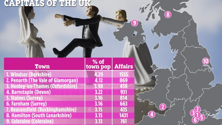 Windsor named cheating capital of the UK for extramarital affairs… but where does YOUR town rank?