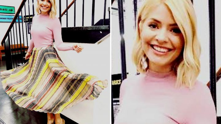 Holly Willoughby looks pretty in an £18 pink Mango knit and striped Karen Millen midi on This Morning