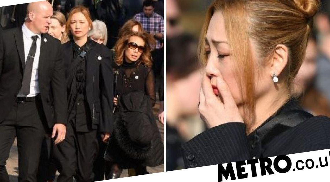 Keith Flint's wife Mayumi Kai looks emotional as she arrives at funeral