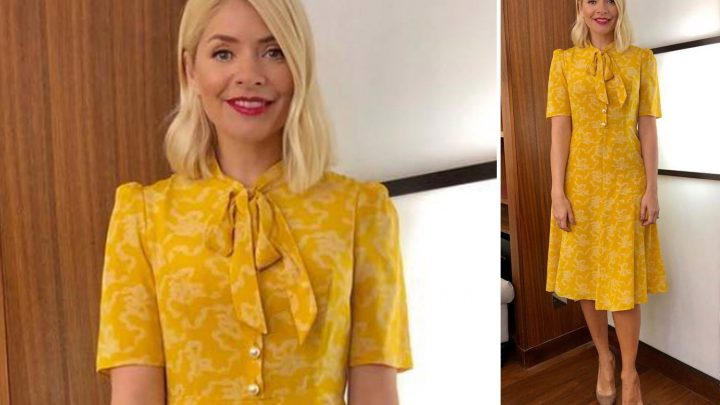 Holly Willoughby brightens up This Morning in yellow L.K. Bennett dress on Pancake Day