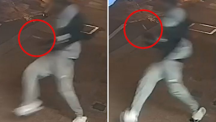 Moment 'knifeman' sprints past terrified shoppers after ANOTHER stabbing on London's bloody streets