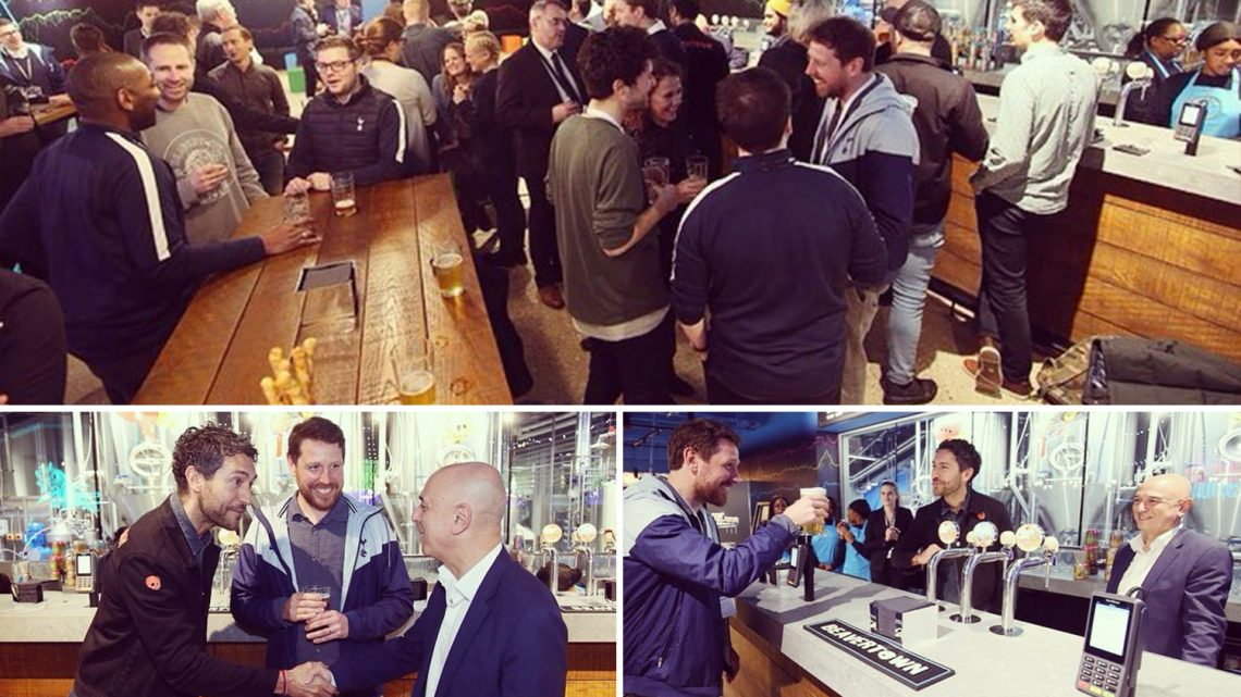 Tottenham chief Daniel Levy pulls the first pint at the new stadium