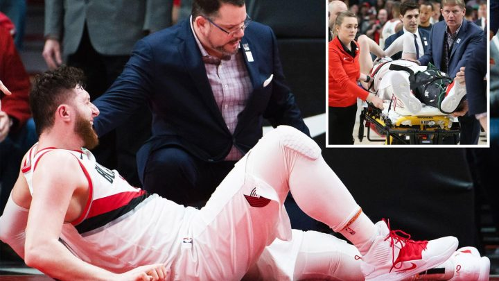 NBA star Jusuf Nurkic suffers horror leg break on court… then gets kicked by referee