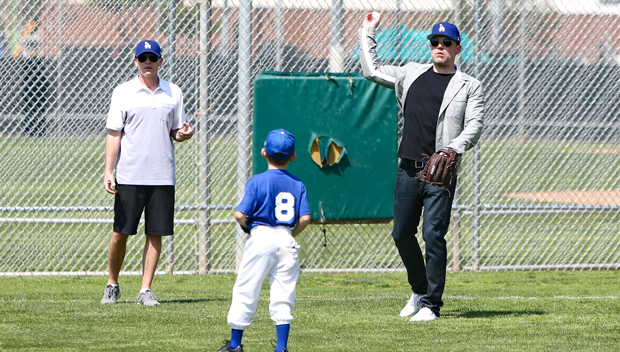 Ben Affleck Plays Catch With Son Samuel, 7, At Little League Baseball Practice — See Pics