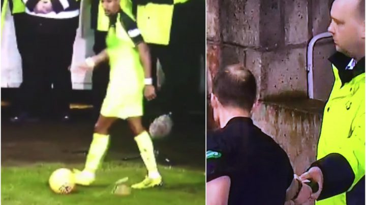 Celtic's Scott Sinclair has bottle of BUCKFAST thrown at him during Hibs Scottish Cup tie