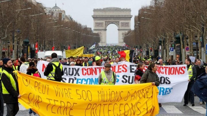 France's Yellow Vests hit streets for 17th time, protest at Paris airport as numbers dwindle