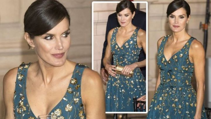 Queen Letizia of Spain stuns in plunging dress – custom look is worth thousands