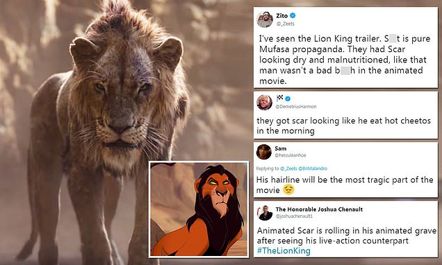 Some fans are angry that Scar looks 'mangy' in new Lion King trailer