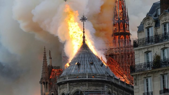The Notre-Dame Cathedral in Paris Catches Fire, Causing the Spire to Collapse