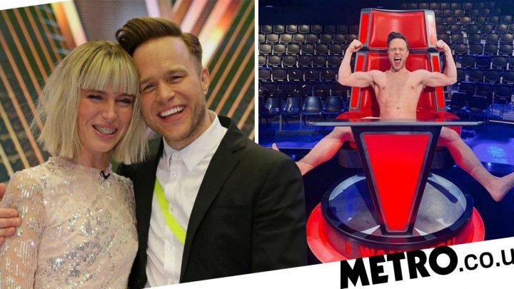 Olly Murs strips off as he celebrates The Voice victory with Molly Hocking
