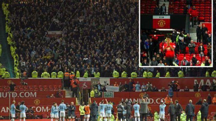 Watch as Man City fans taunt Man Utd with chants of 'you're f****** s***' during derby demolition