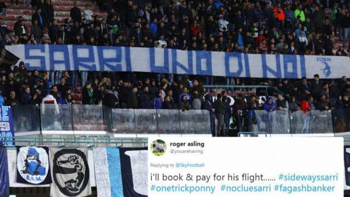 Chelsea fans offer to fly Maurizio Sarri to Italy after Napoli fans unveil huge banner calling for return of former boss
