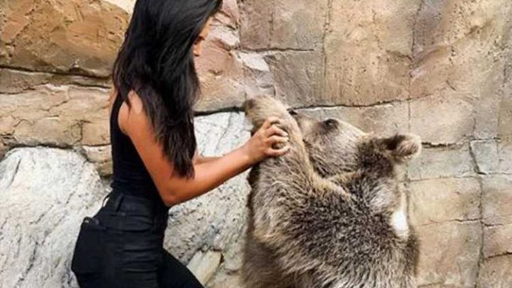 Shoppers slam Fashion Nova as 'abusive' after a model poses with a bear in a shocking snap to advertise jeans