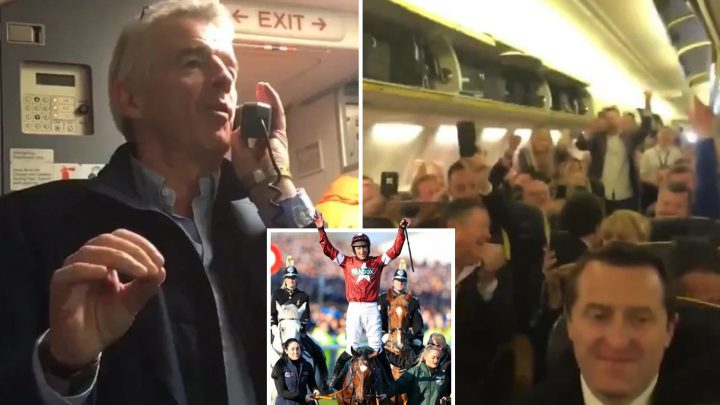 Ryanair boss Michael O'Leary treats astonished passengers to free drinks after his horse Tiger Roll wins historic second Grand National in a row