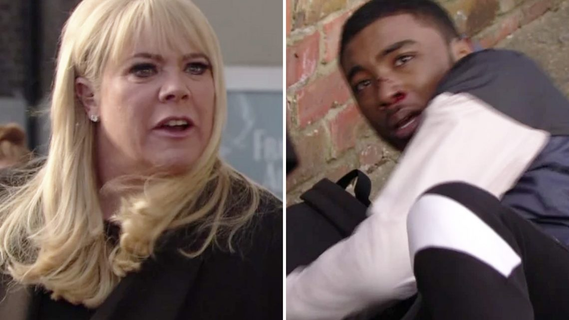 EastEnders fans convinced Sharon Mitchell will be forced to flee the Square after punching drug dealing gang member Stix in the face to protect son Denny