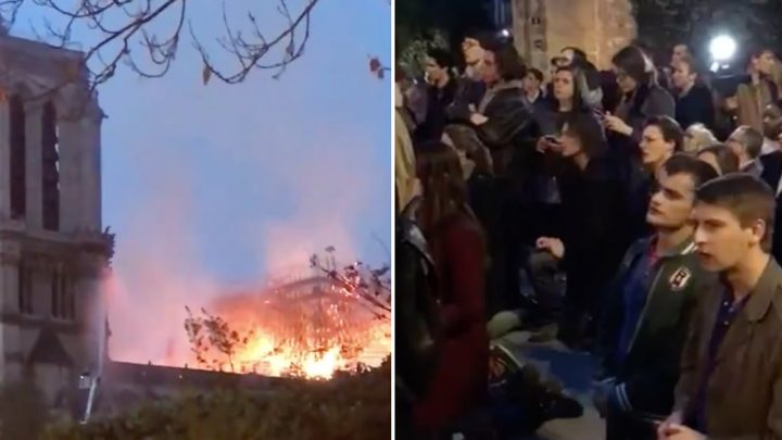"""Crowds Sang """"Ave Maria"""" Together as the Notre-Dame Cathedral Burned"""