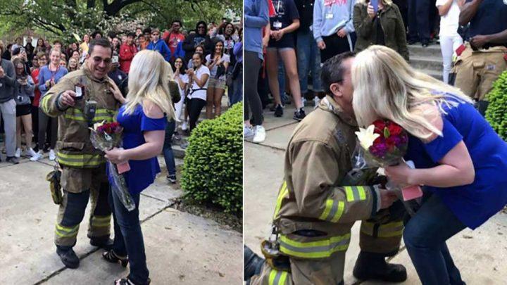 Fireman surprises teacher girlfriend with a proposal during school fire drill
