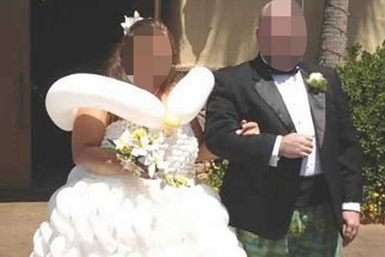 Bride who wore bizarre wedding dress made of BALLOONS is teased for looking like the Michelin Man
