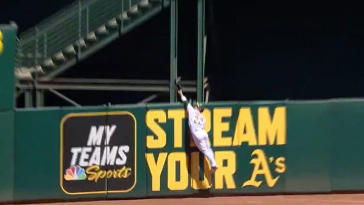 Oakland A's center fielder robs home run, hurls the ball hundreds of feet in one of the wildest sequences of the MLB season