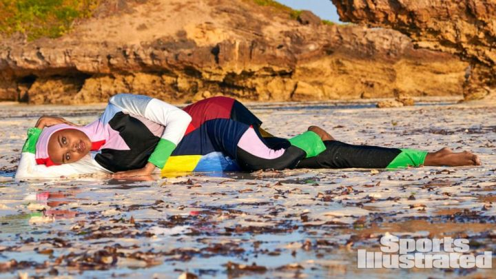 Model makes history as first to wear a burkini in Sports Illustrated Swimsuit Issue