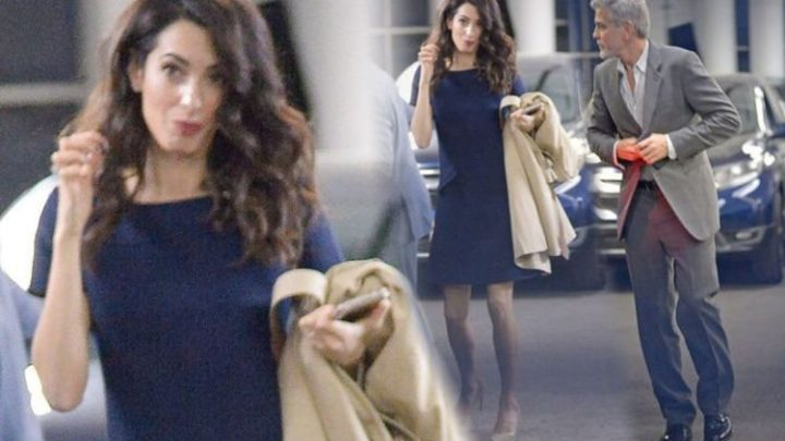 Amal Clooney: George Clooney's wife puts on leggy display in stunning navy frock