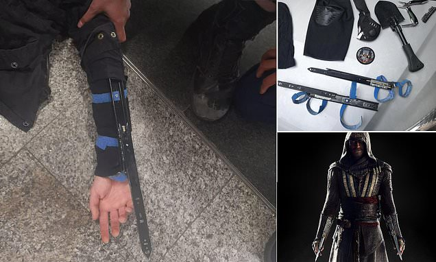 Man arrested with 12-inch wrist blades like Assassin's Creed character