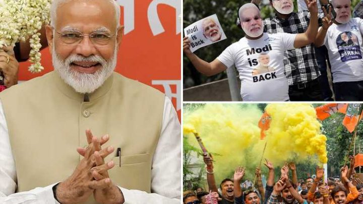 Narendra Modi claims landslide election victory in India after campaign of violence and brink of war with Pakistan cement cult following